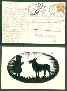 Denmark. Postcard 1935. Sejerø + 2 Copenh. Grimm's Big Bad Wolf With Little Girl
