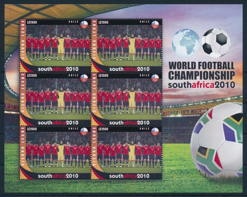 [95395] Sierra Leone 2010 World Cup Football South Africa team Chile Sheet MNH