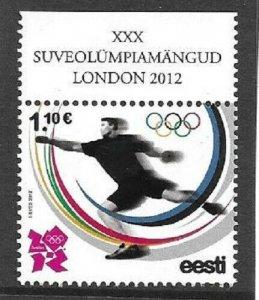 2012  ESTONIA  -  SG. 685  -  OLYMPICS 2012.  LONDON  -  MNH