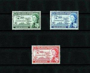 BARBADOS - 1958 - QE II - WEST INDIES FEDERATION - MAP + 3 X MINT - MNH SET!