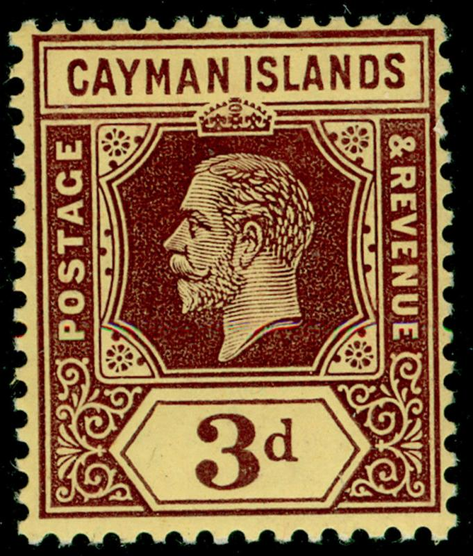 CAYMAN ISLANDS SG45a, 3d purple/yellow, LH MINT. WHITE BACK.