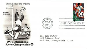 International Soccer Championship Making Save First Day Cover 1994 cachet