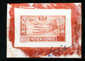 Middle Congo Stamps # J22 Essay VF No Denomination Signed Essay In Red