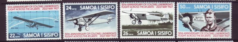 J19647 Jlstamps 1977 samoa set mnh #450-3 spirit of st louis airplane