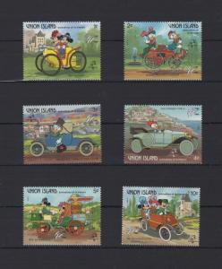 Union Island Disney Stamps Cars Automobile Serie Set of 6 Stamps Mint NH