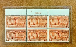 E13 Top plate BLOCK of 6  1925  Special Delivery NH  MINOR Oxidation CV $700