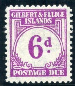 Gilbert & Ellice Is 1940 KGVI Postage Due 6d purple MLH. SG D6. Sc J6.