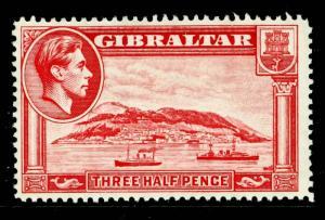 GIBRALTAR SG123, 1½d carmine, PERF 14, LH MINT. CAT £35.