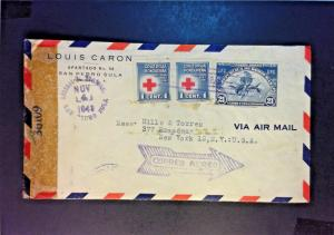 Honduras 1943 Censored Airmail Cover to USA - Z898