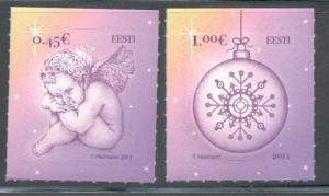 Estonia Sc 689-90 2011 Christmas stamp set mint NH