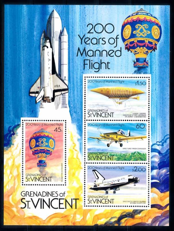 [66187] Grenadines of St. Vincent 1983 Space 200 Years Manned Flight Sheet MNH