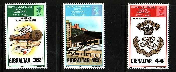 Gibraltar-Sc#505-7- id5-unusedNH set-Military-Royal Engineers-1987-