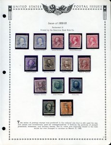Lot of 20 U.S. Used Stamps Mounted on Page Scott # 219 - 229 #141539 X