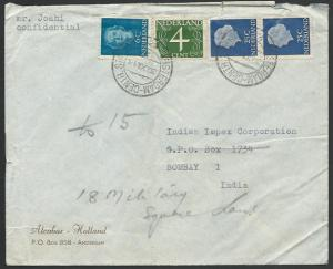 NETHERLANDS 1954 60c airmail rate cover to INDIA...........................52801