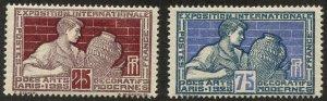France, Scott #222+224, Unused, Hinged