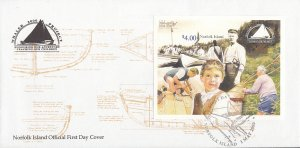 Norfolk Island 2000 FDC Sc #704 $4 Whaler Project O/P Stamp Show 2000 and Cro...