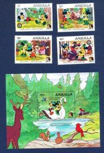 ANGUILLA - #648-652 & 650A - VF MNH set & S/S - Disney Hansel & Gretel - 1986