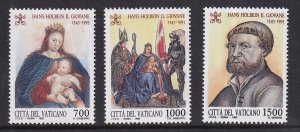 Vatican City   #939-941  MNH  1993  Hans Holbein the younger  paintings