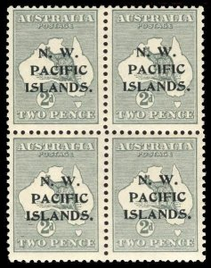 New Guinea 1915 Roo 2d grey Type 'c' ovpt block of four superb MNH. SG 86.