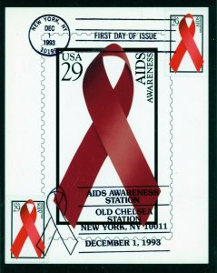 Scott 2806 Aids Awareness First Day Card with Duel Cancels Dec. 1, 1993