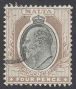 Malta Sc# 37 Used 1906 4p brown & black King Edward VII