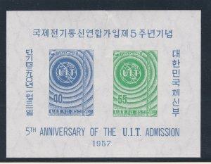 Korea (South) # 243-244, IYU Cent., Imperf Unlisted Souvenir Sheet, Has a Tear