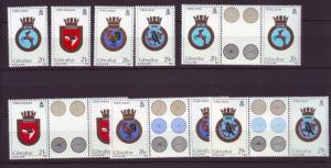J19610 Jlstamps 1984 gibraltar set + gutter pair mnh #465-8 navy ships crests