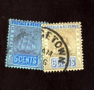 BRITISH GUIANA #163-4 USED F-VF Cat $58