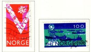 Norway Sc 555-6  1970 Liberation 25 yrs stamps used