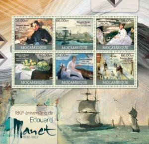 Mozambique - Artist Edouard Manet - 6 Stamp Sheet - 13A-1050
