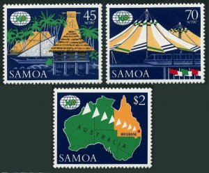 Samoa 717-719,MNH.Michel 641-643. EXPO Australia-1988.Village,Canoe,Monorail,Map