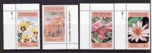 Tanzania-Sc#315-18-Unused NH set-Indigenous Flowers-1986-