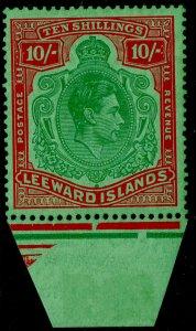 LEEWARD ISLANDS SG113c, 10c dp grn&dp vermilion/grn, NH MINT. Cat £120.MARGINAL.