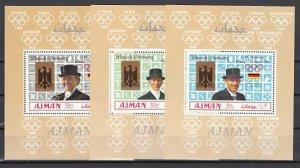 Ajman, Mi cat. 463-465 C. Munich Summer Olympics. 3 Deluxe s/sheets. ^