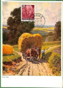90232 - LIECHTENSTEIN - Postal History - MAXIMUM CARD - ART Agricolture 1955