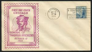 #734 KOSCIUSZKO ON FDC CACHET BY KREICHER OCT 13,1933 CV $40 BU2733