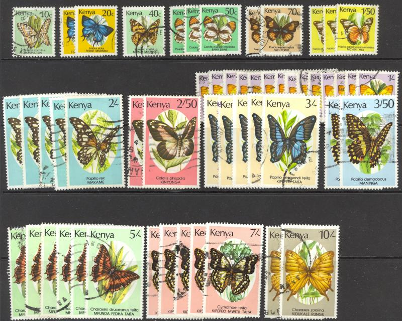 Kenya Sc# 424A-438 (Assorted) Used Lot/53 1988-1990 Butterflies