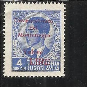 MONTENEGRO 1942 GOVERNATORATO RED OVERPRINTED SOPRASTAMPA ROSSA LIRE 4 D MNH
