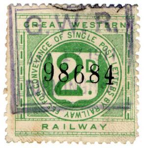 (I.B) Great Western Railway : Letter Stamp 2d (Birmingham Parcels)