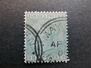 A4P21F20 Jamaica 1883-97 Wmk Crown CA 1/2d used