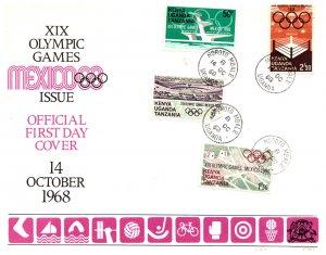 Kenya Uganda & Tanganyika, Worldwide First Day Cover, Olympics