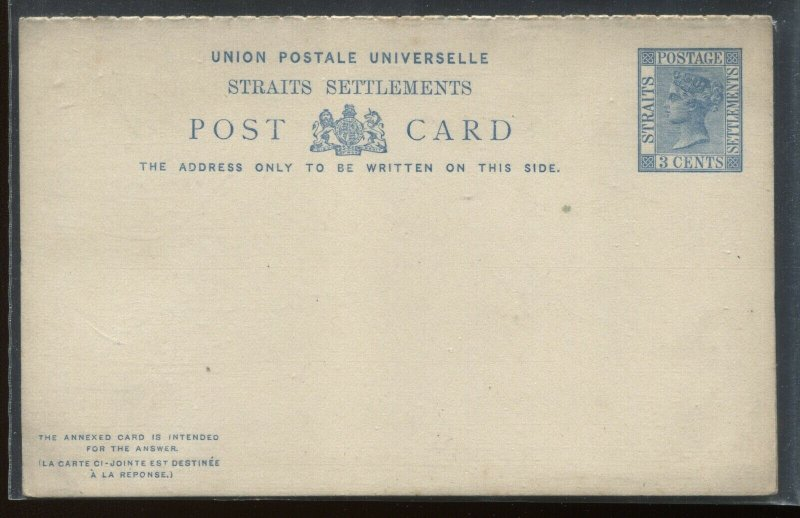 Straits Settlements QV 3 cents unused Post card with reply card attached