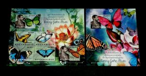 TOPICAL, BUTTERFLIES, MOZAMBIQUE, 2012, SET OF 2 S/S, MNH, LOT #90, LQQK