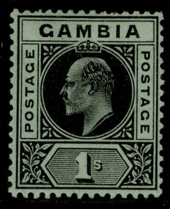 GAMBIA EDVII SG81, 1s black/green, LH MINT.
