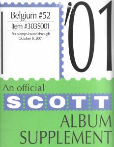 Scott Belgium #52 Supplement 2001