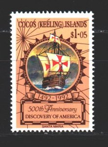 Cocos Islands. 1992. 266. 500 years of the discovery of America, sailboat. MNH.