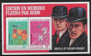 1971 Gabon C111a Flowers by Mail/ Orvile & Wilbur Wright S/S MNH