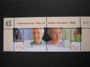 AUSTRALIA 1999 SCOTT 1726a OLDER PERSONS STRIP OF 2 MUH