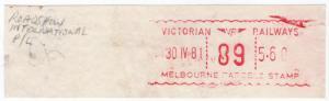 (I.B) Australia - Victoria Railways : Meter Parcel Stamp $5.60 (Roadshow)