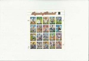 US Stamps/Postage/Sheets Sc #3408 Legends of Baseball MNH F-VF OG FV 6.60